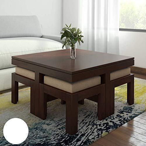 Hariom Handicraft Sheesham Wood Coffee Table And 4 Stools best center table